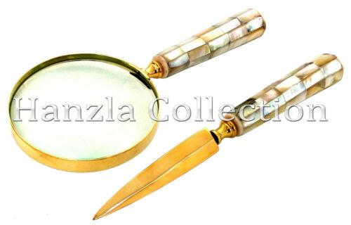 Mother of Pearl Handle Brass Magnifying Glass /& Letter Opener Set Desk Magnifier