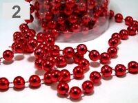24FT RED HANGING BEAD GARLAND CHRISTMAS TREE XMAS TINSEL STRING CHAIN DECORATION