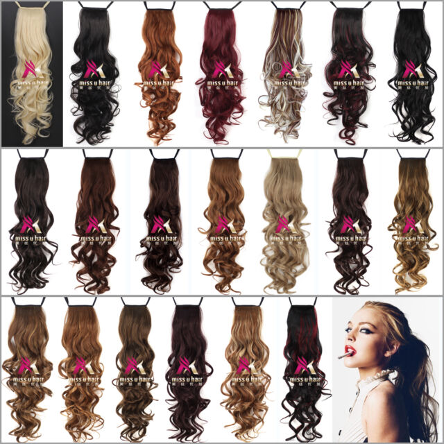 """24"""" 120g women long Curly Ponytail Clip In ribbon Ponytail Hair Extensions"""