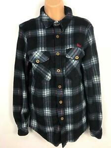 WOMENS-LEE-COOPER-BLUE-PINK-WHITE-CHECKED-FLEECE-SHIRT-BLOUSE-CASUAL-TOP-MEDIUM
