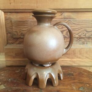 Vintage-Frankoma-Pottery-No-82-Carafe-and-Warming-Stand
