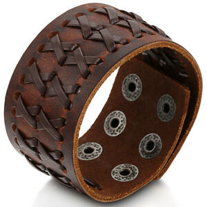 Punk-Rock-Wide-Brown-Leather-Men-039-s-Cuff-Bangle-Bracelet-Adjustable-Wristband