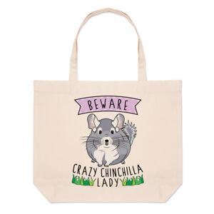 Beware-Crazy-Chinchilla-Lady-Large-Beach-Tote-Bag-Funny-Animal-Shoulder