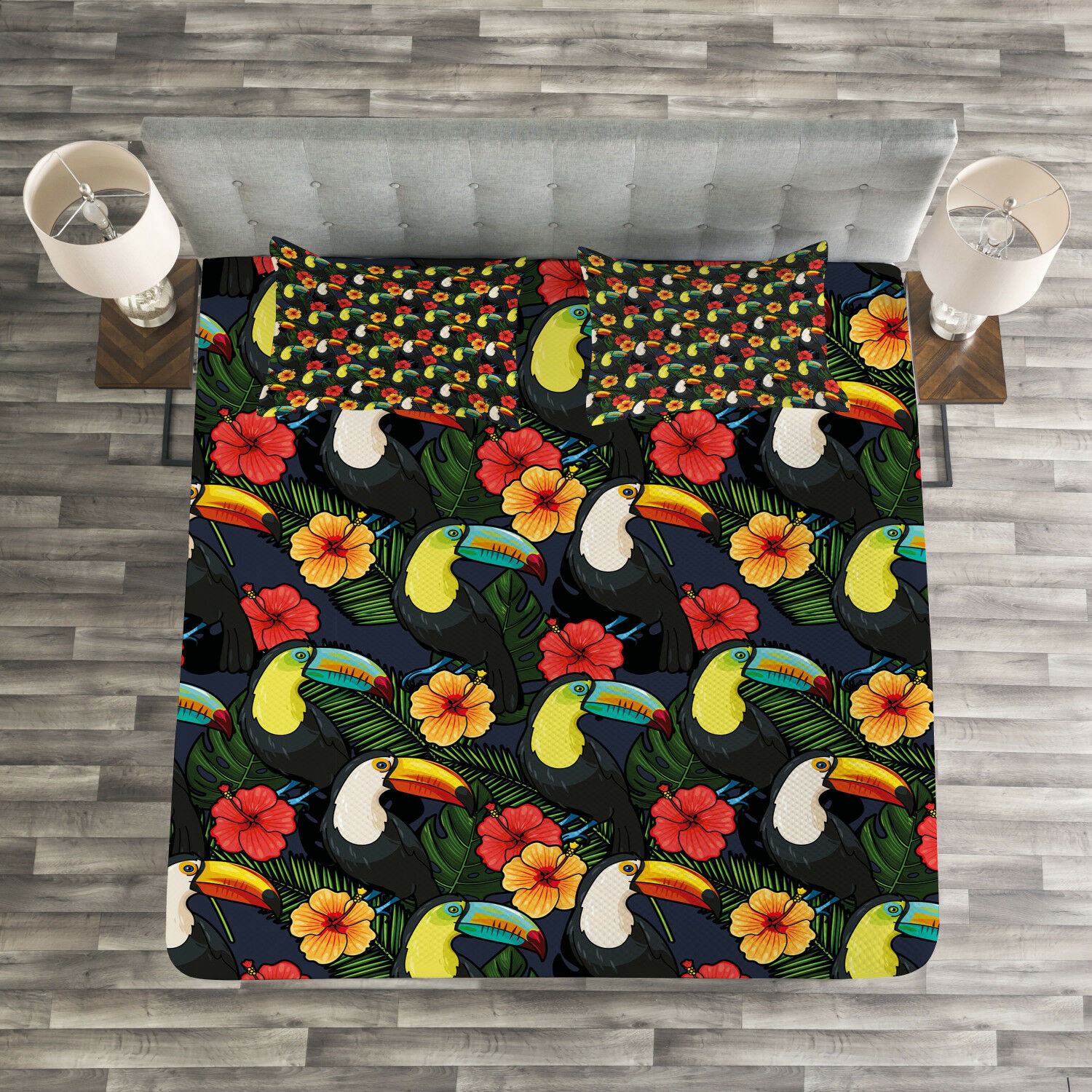 Watercolor Quilted Bedspread & Pillow Shams Set, Toucan and Hibiscus Print