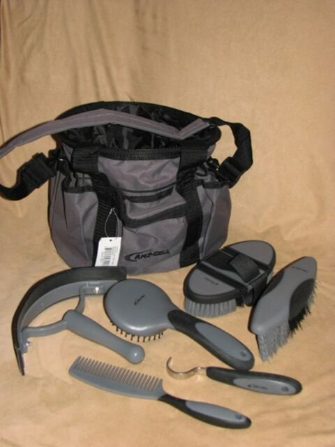Horse Pony Grooming Kit 6 Piece Two Toned GREY & BLACK Grooming Tote LAMI-CELL