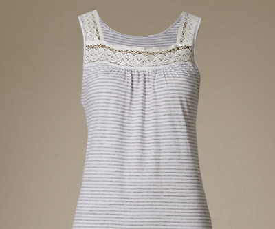 Ex Marks and Spencer Sleeveless Cotton Nightdress Cool Comfort Size 12-22