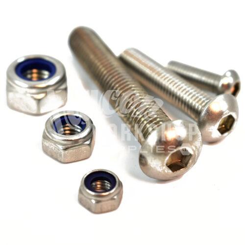A2 Acero Inoxidable Tornillos de cabeza de botón de zócalo y Gratis Nyloc Tuercas Hexagonales De Acero 12mm M12