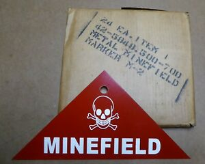 ORIGINAL-STEEL-SIGN-WWII-MINEFIELD-WARNING-SKULL-CROSSBONES-NOS-1942-ARMY-MINE-A