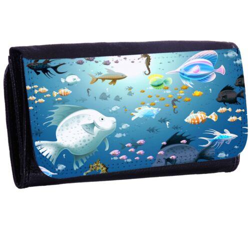 Fish Aquarium Bi-fold Zipper Bill /& Card Holder Long Wallet