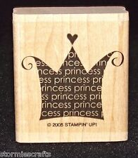 Stampin Up Oh My Word Stamp Single Princess Crown with a heart Hard to Find