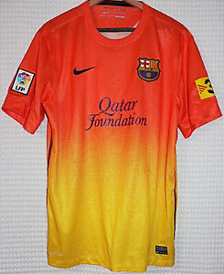 Fc Barcelona Spain Soccer Team Nike Qatar Foundation Yellow Jersey Large Size Ebay