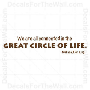 Lion King Mufasa Circle Of Life Disney Wall Decal Vinyl Art Sticker