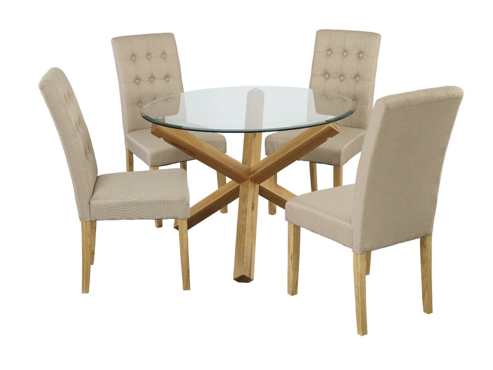 Picture of: Trend Solid Oak Round Glass Top Dining Table 4 Rennes Beige Button Chair Set Ebay