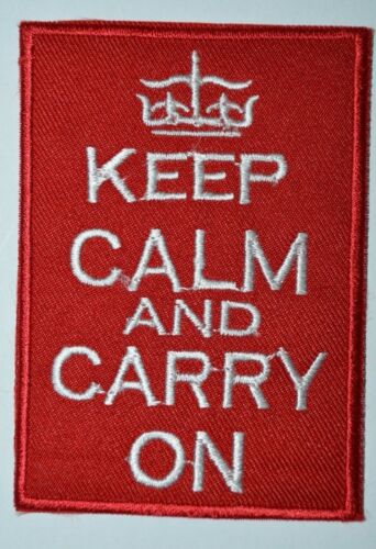KEEP CALM AND CARRY ON sport biker Iron//Sew on Embroidered Message jeans Patch