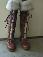 VINTAGE 70's-80's WOMEN'S HUSKY BASTIEN BROTHERS LEATHER TALL BOOTS 8M  CANADA