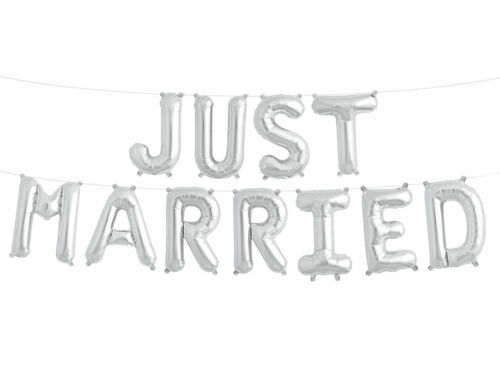 """16/"""" Just Married Air Fill Foil Balloon Kit Ideal Wedding Party Decoration"""