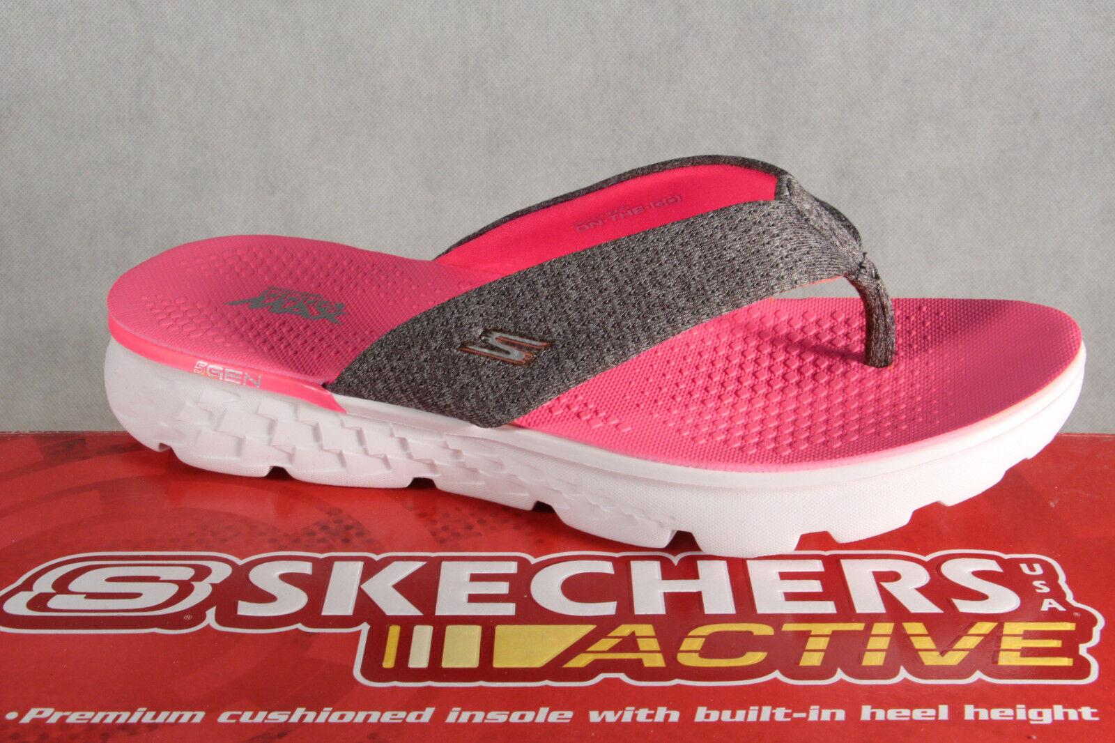 Skechers Damen Zehenstegpantolette Pantolette Pantoletten grau/pink 14656 NEU