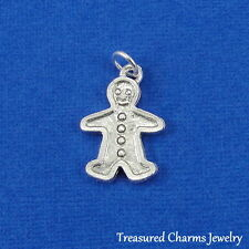 Silver GINGERBREAD MAN CHARM Christmas Cookie PENDANT