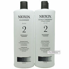 Nioxin System 2 Shampoo Cleanser & Conditioner Scalp Therapy 1 Liter / 33.8 Oz