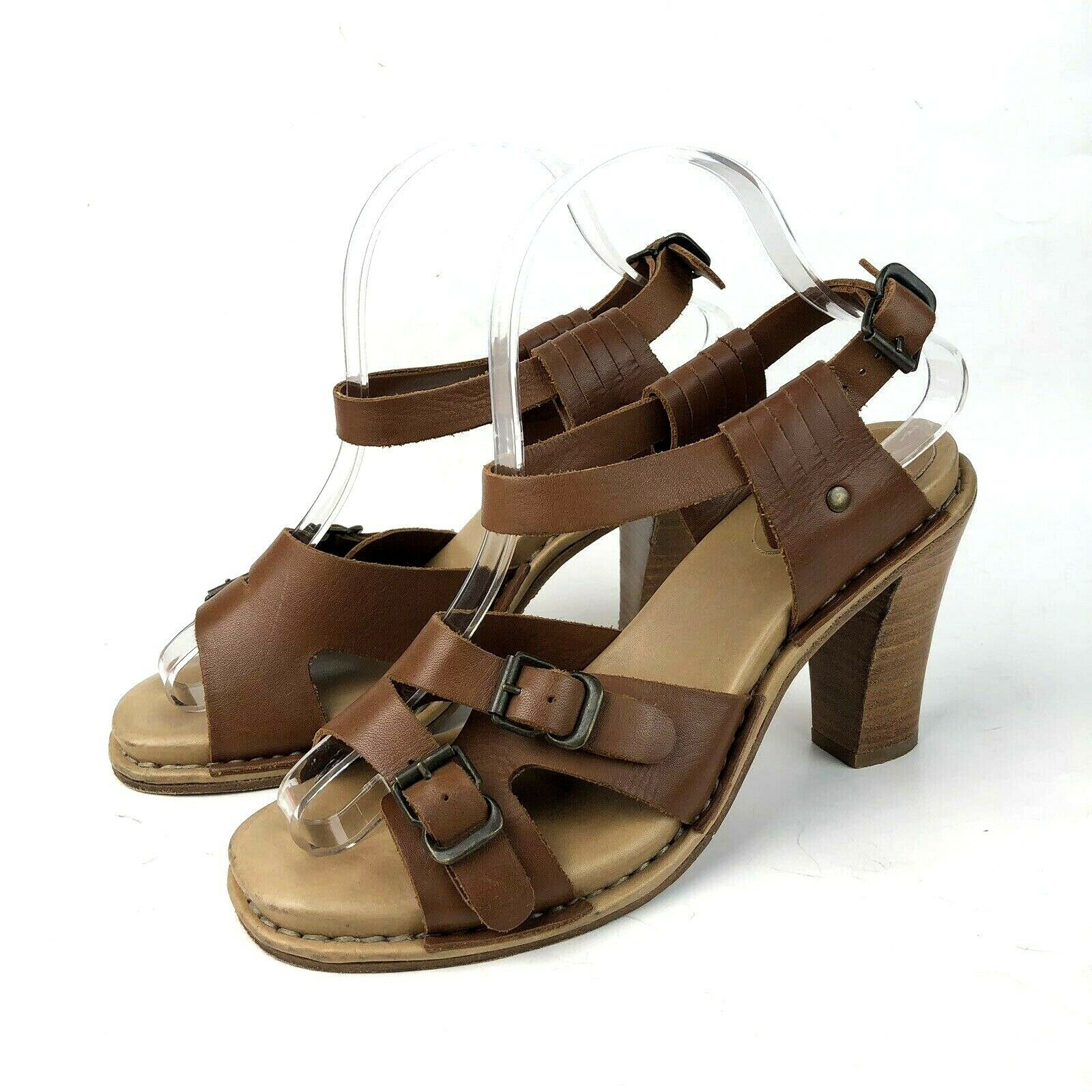 See by Chloe Women's Size 38 8 Heeled Sandals Stacked Wood Heel Brown Leather
