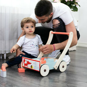 Toddler Baby Wood Push Learning Walker Activity Toys Kids