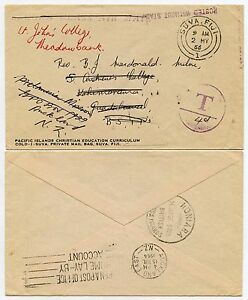 FIJI to BRITISH SOLOMON ISLANDS +REDIRECTED POSTAGE DUE PRINTED PRIVATE MAIL BAG
