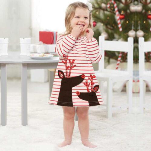 Fashion Kids Baby Christma A-Line Princess Long Sleeve Mini Dress Skirt Outfits