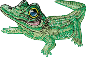 89113 Green Alligator Wearing a Monocle Cute Animal Sew Iron On Patch Badge