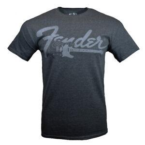 Fender-Men-039-s-T-shirt-Vintage-Retro-Look-Musicians-Guitar-Rock-Graphic-Tee-GRAY