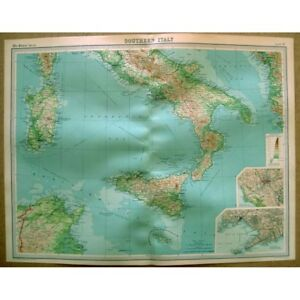 Rome Vintage Map 1922 by Bartholomew ITALY Southern Part inset of Naples