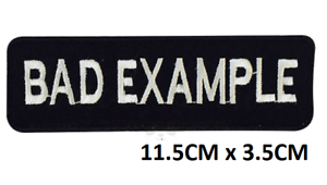 Bad-Example-Biker-Iron-On-Sew-On-Embroidered-Patch-Badge-For-Clothes-Bags-Etc