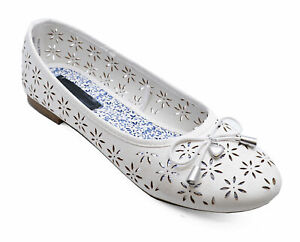 71c2cb74b89 Details about GIRLS SLIP-ON WHITE COMFY DOLLY BALLERINA PUMPS KIDS PRETTY  FLAT SHOES SIZES 12-