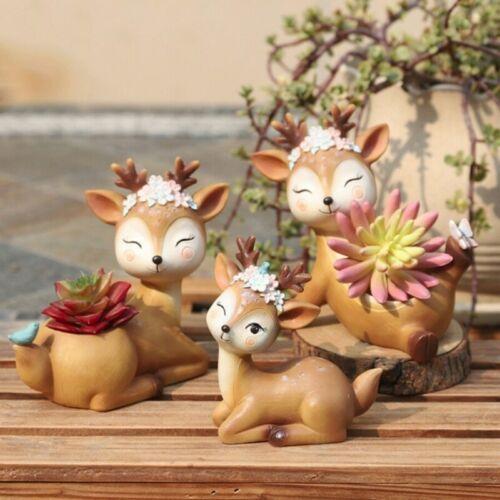 Cartoon Deer Flowerpot Round Succulent Plant Cactus Resin Cute Animal Flowerpot