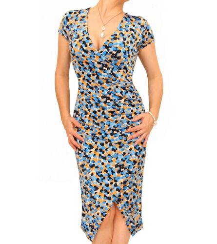 jurk mouwen met korte Fake Nieuwe Knielengte jurk Ruch Wrap dqtOxxEw5