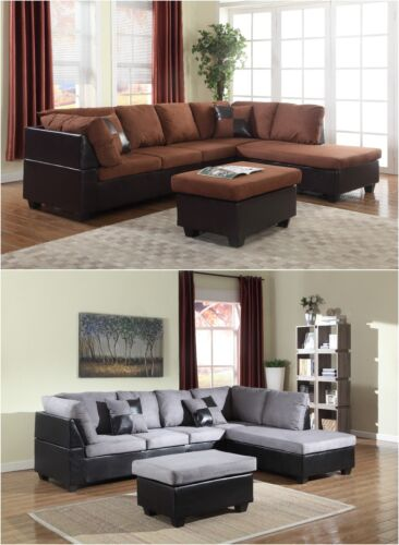 The Room Style Sectional Sofa Furniture Microfiber Couch Living Room Set 2 Color