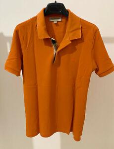 Burberry Polo Uomo Arancione Slim Fit Taglia S Check Logo con Bottoni