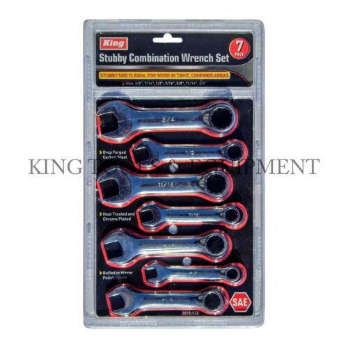 KING 7PC STUBBY COMBINATION WRENCH OPEN RING SPANNER SET SAE HAND TOOL BRAND NEW