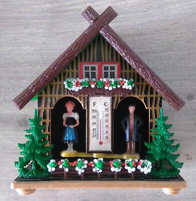 Suche Nach FlüGen Vintage 60s Bambi Wetterhaus Mit Thermometer Und Luftdruckanpassung Modell 50
