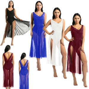 Women-039-s-Lyrical-Ballet-Dance-Dress-Gymnastics-Leotard-Mesh-Split-Skirt-Dancewear