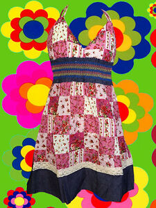 98-Country-Patchwork-Neckholder-Hippie-Mini-Kleid-dress-Boho-Blumen-Jeans-Sara