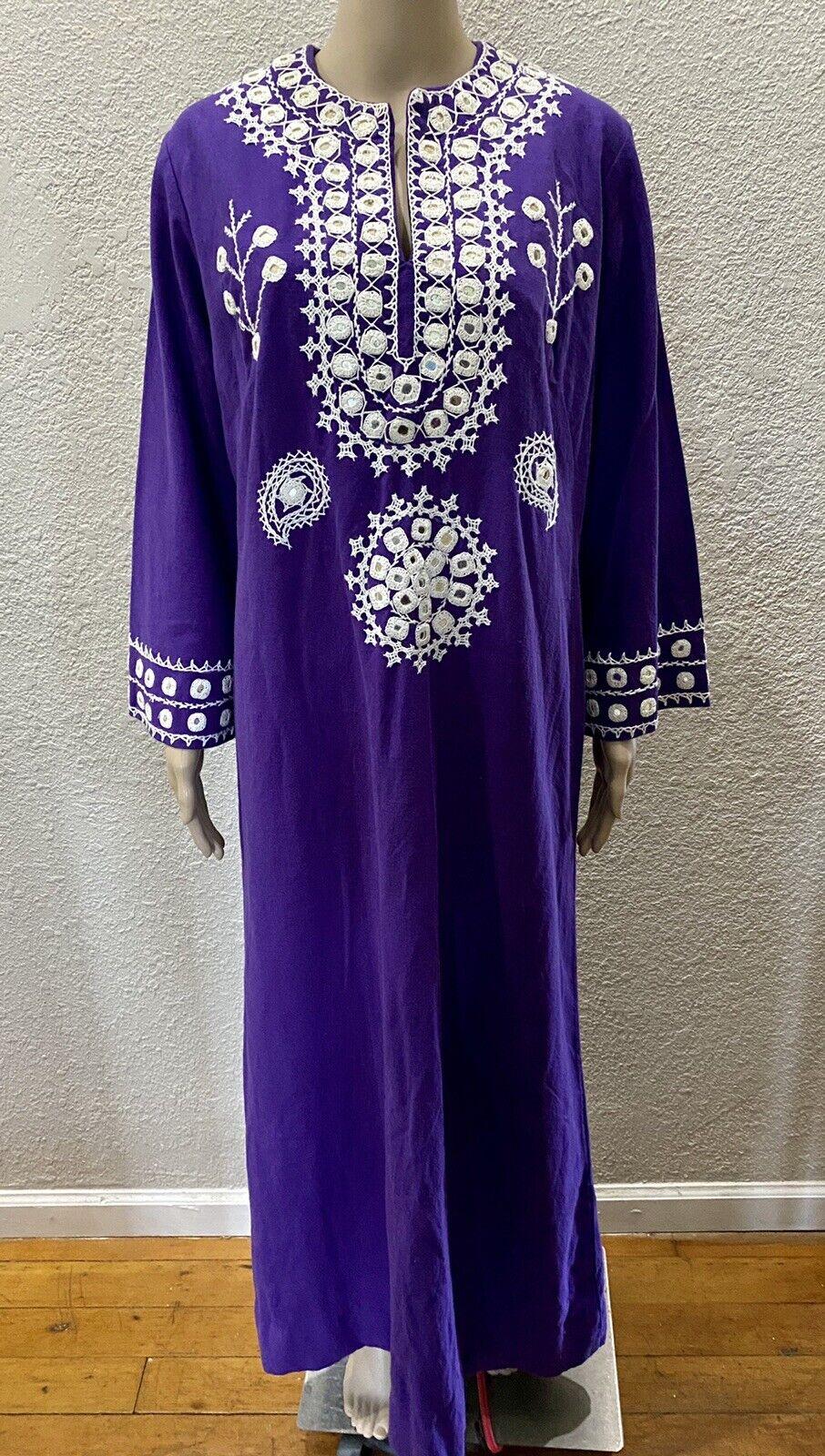 Ramona Rull Purple Cotton MIRROR Embroidery 60s B… - image 6