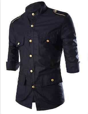Fashion Mens Luxury Stylish Casual Dress Slim Fit T-Shirts Casual Long Sleeve
