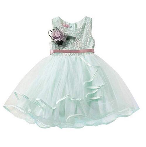Toddler Kid Baby Girls Floral Dress Princess Pageant Lace Tutu Dress Sundress US