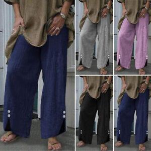 ZANZEA-Femme-Pantalon-100-coton-Boutons-Asymetrique-Poche-Taille-elastique-Long