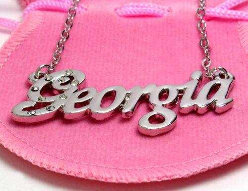 Collar de nombre Georgia 18K Chapado en OroPersonalizado Navidad Regalos Para Ella