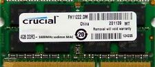 Crucial Ram MEMORIA 4GB DDR3 PC3-12800,1600 MHz per 2012 Apple Macbook Pro's