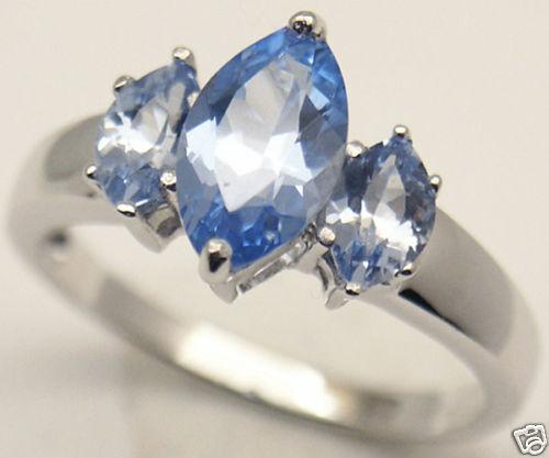 Lab simulated Aquamarine Silver Ring March #58