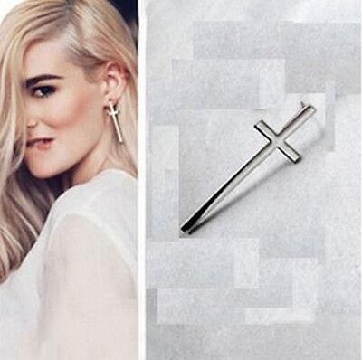 M 1 paire Bijoux Boucles d/'oreilles style  croix argent argenté martelé neuf