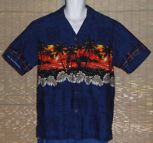 Hawaiian-Reserve-Collection-Hawaiian-Shirt-Blue-Orange-Islands-Tiki-Size-XL