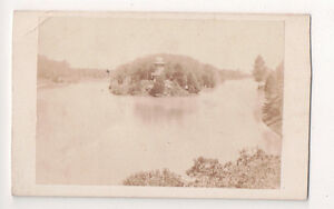 Vintage-CDV-Panoramic-View-Island-amp-House-in-the-River